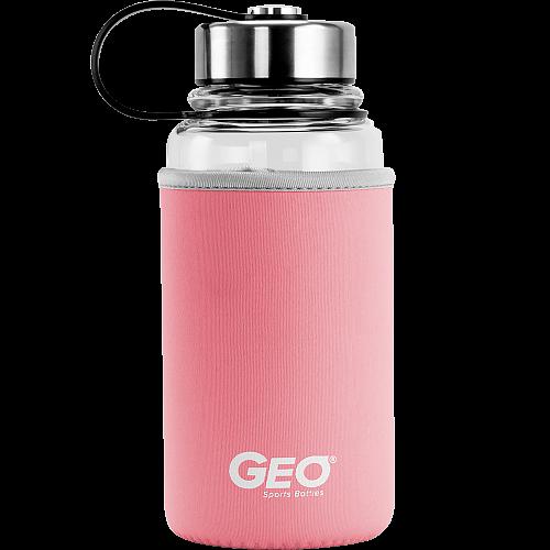 Стеклянная бутылка с чехлом и ручкой, 1 л, розовая