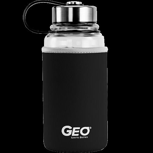 Стеклянная бутылка с чехлом и ручкой, 1 л, черная