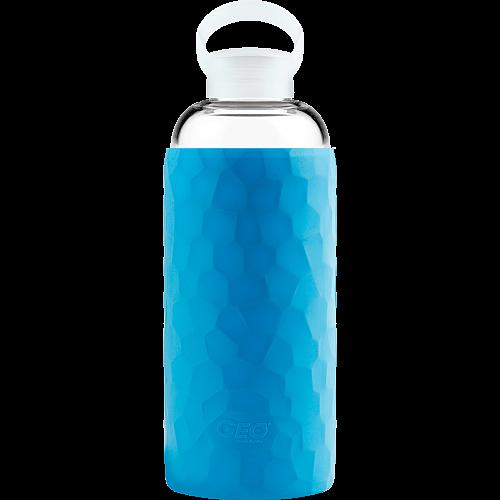 Стеклянная спортивная бутылка с чехлом, 1 л, синяя